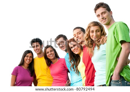 Large group of smiling friends staying together and looking at camera isolated on white background - stock photo