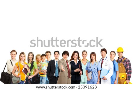 Large group of smiling people. Over white background - stock photo