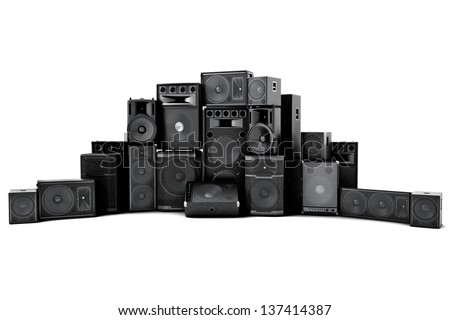 Large group of speakers in a row, loud or abused concept on a white background. - stock photo