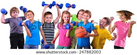 Large group of sportive happy cheerful children with dumbbells and ball isolated over white . Childhood, happiness, active sports lifestyle concept. - stock photo