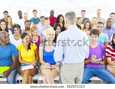 Large Group of Students in Lecture Hall - stock photo