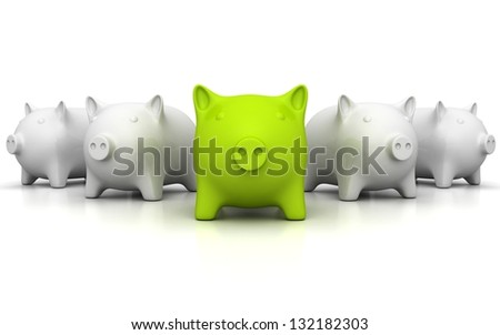 Large group of white piggy banks with one green leader - stock photo