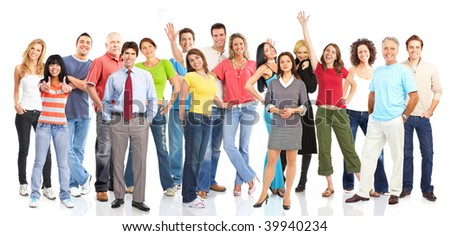 Large group of young smiling people. Over white background - stock photo