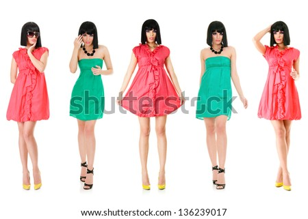 Large group of young women isolated over white background - stock photo