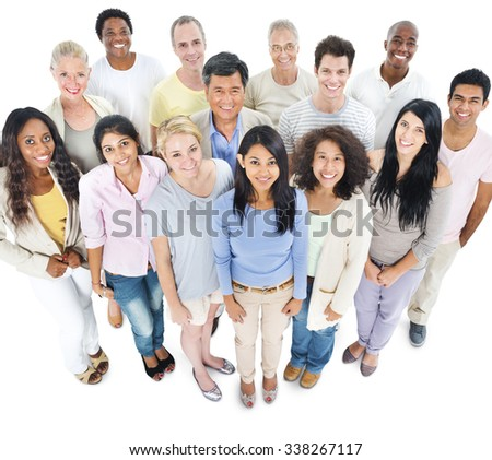 Large Group People Healthy Happiness Togetherness Concept - stock photo