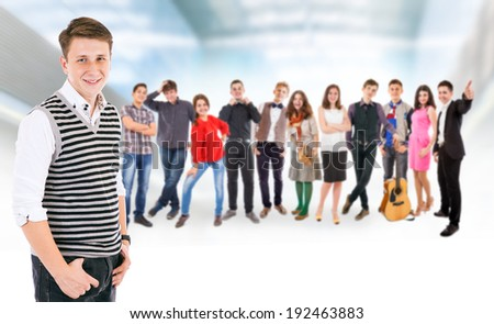 Large group young people - stock photo