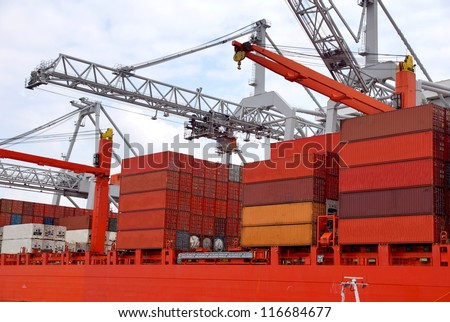Large harbor cranes at the port of Rotterdam , Holland europoort - stock photo