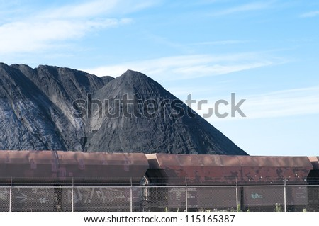 large heap of coal ready for train transport in Rotterdam harbor - stock photo