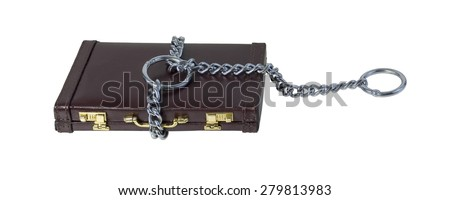 Large Heavy metal chain creating a cable of strength for a choke chain on a briefcase - path included - stock photo