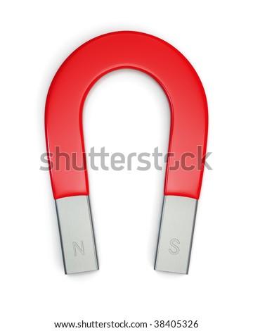 Large horseshoe magnet isolated on white. Includes pro clipping path. - stock photo