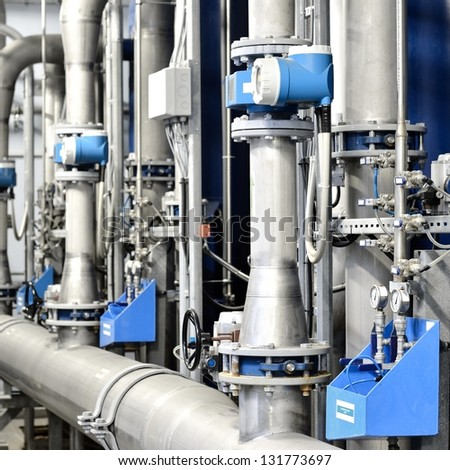 Large industrial boiler room - stock photo