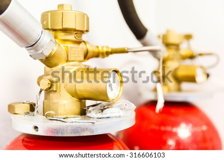 Large Industrial CO2 fire extinguishing system in the datacenter - stock photo