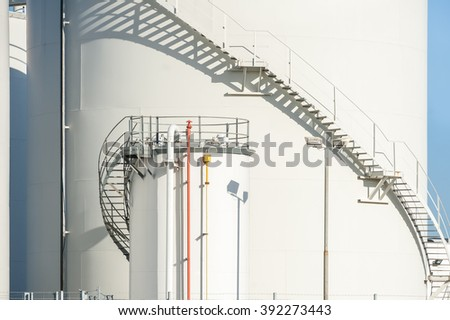 large industrial fuel storage depot detail - stock photo