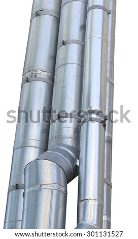 large industrial shiny metal pipes on white background - stock photo