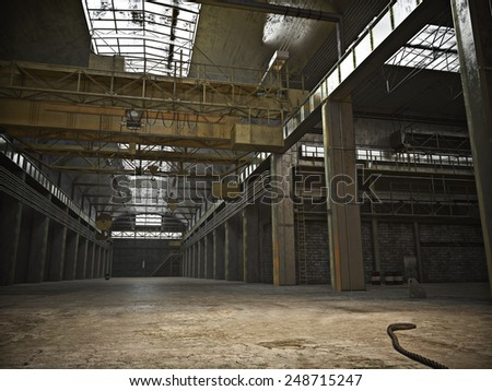Large Interior framed grunge warehouse with an empty floor .Photo realistic 3d illustration.  - stock photo