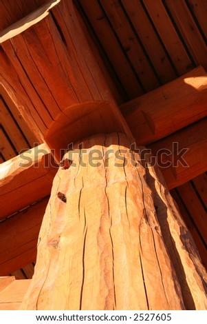 large intricate log building/ home/ chateau - stock photo