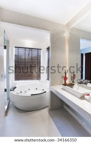 large jacuzzi in bathroom - stock photo