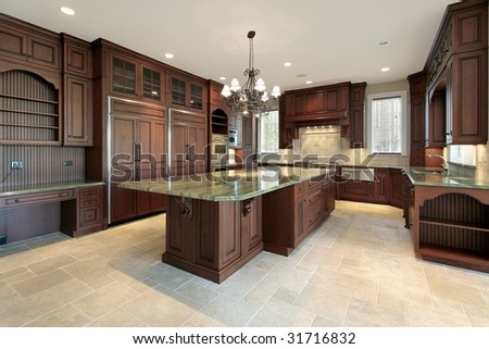 Large kitchen in new construction home - stock photo