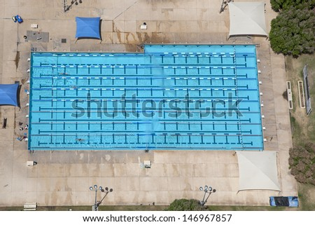 Large Lap sized swimming pool viewed from overhead - stock photo