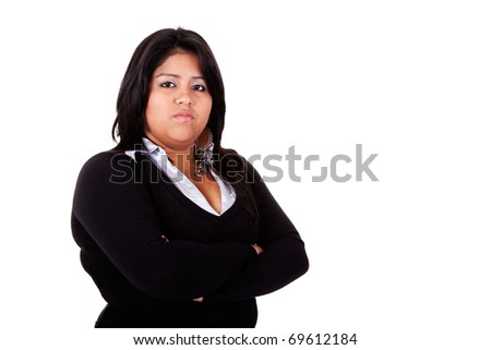 large  latin woman angry, isolated on  white studio shot - stock photo