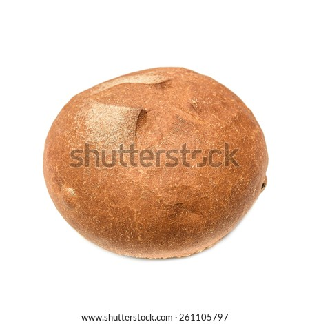 Large loaf of bread isolated on white - stock photo