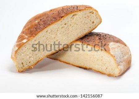 large loaves of bread traditionally roasted - stock photo