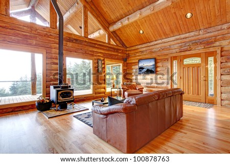 Large Luxury Log Cabin House Living Room With Large Windows Stock