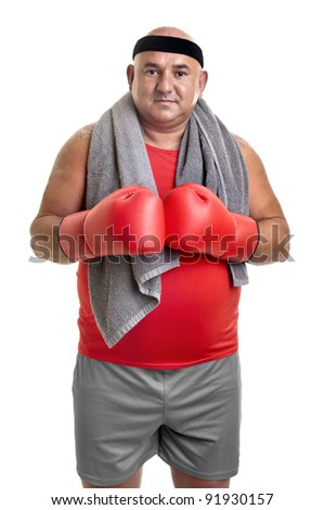 Large man with boxing gloves isolated in white - stock photo