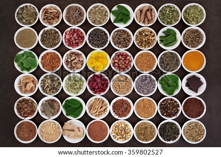 Large medicinal herb selection for womens health care over lokta paper background. - stock photo