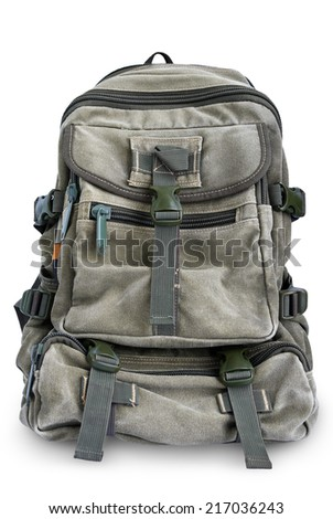 Large military backpack isolated on white background - stock photo