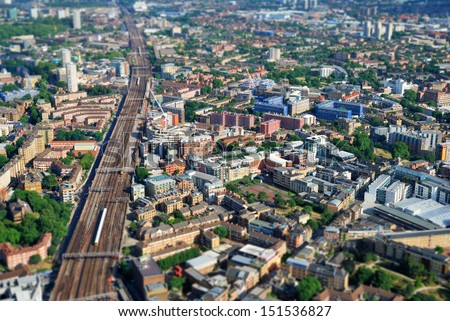 Large modern city center viewed from above - stock photo