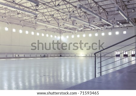 Large modern empty industrial premises - stock photo