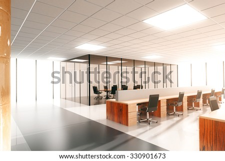 large modern sunny office 3D Render - stock photo