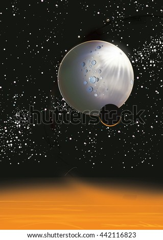 Large moon in space, this is a huge moon in space in front of a star field, at the bottom of this illustration is a large planets atmosphere.  - stock photo