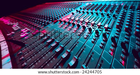 Large Music Mixer desk at he Concert - stock photo