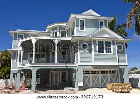 Large New Beach House under Construction - stock photo