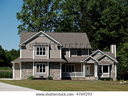 Large, newly constructed home in a suburb of Cleveland Ohio - stock photo