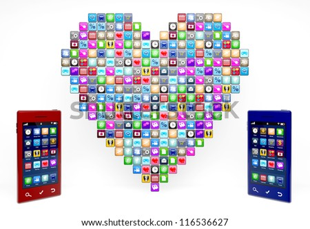 Large number of smartphone icons with two modern smartphones at the sides.  Note to reviewer: Smartphone and icon graphics are designed by the contributor. - stock photo