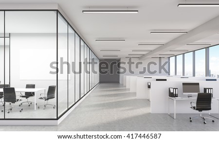 Large office interior with New York city view and blank whiteboard. 3D Rendering - stock photo
