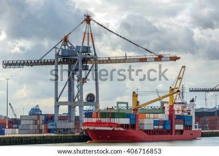 Large oil tanker in canal - stock photo