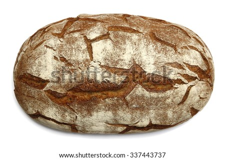 Large oval loaf of brown bread with cracks. Isolated closeup image on white background with soft shadow. Artisan-style handmade bread with original texture. - stock photo