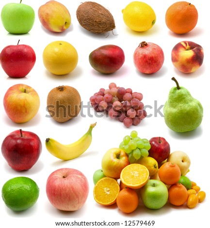 large page of fruits isolated on the white background - stock photo