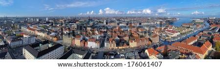 Large panorama of Copenhagen, Denmark - stock photo