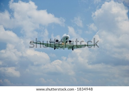 Large passenger plane attempting to land on Corfu island, Greece - stock photo