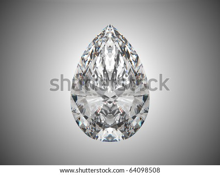 Large pear cut diamond over grey background - stock photo