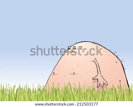 Large pink naked monster in the garden cartoon character illustration - stock photo
