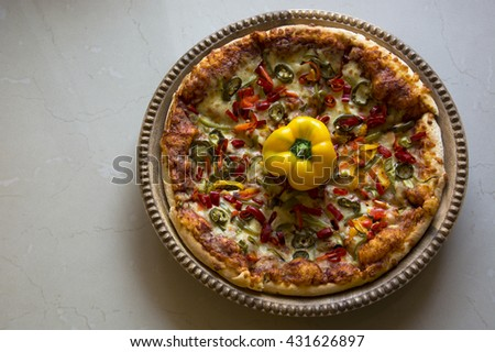 Large Pizza with Bell Peppers - stock photo