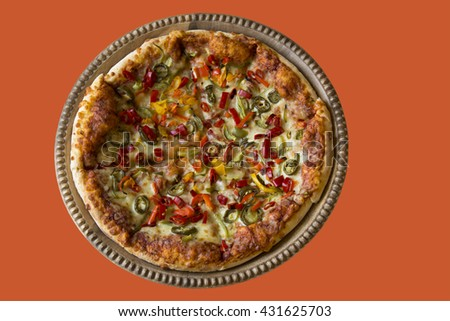 Large Pizza with Peppers - stock photo