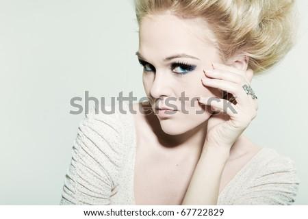 Large portrait fashion woman - stock photo