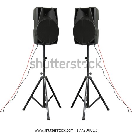 Large powerful Audio Speakers on tripod Isolated on White Background - stock photo